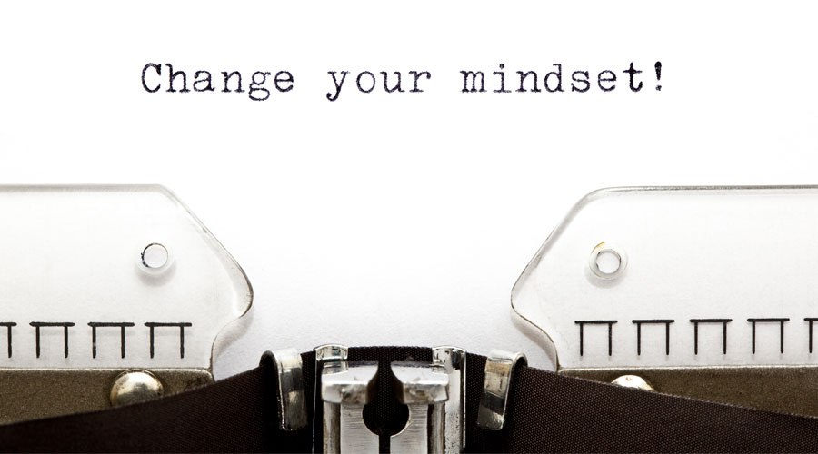 """Typewriter ribbon with the words """"change your mindset"""""""